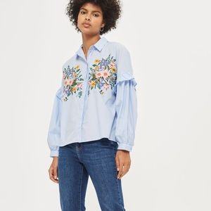 NWT Women's Topshop floral embroidered top button
